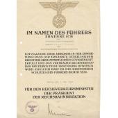 3 Reich certificate for professional grow issued to Reichsbahninspectoranwärter