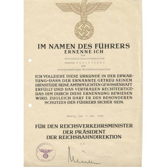 3 Reich certificate for professional grow issued to Reichsbahninspectoranwärter. Espenlaub militaria