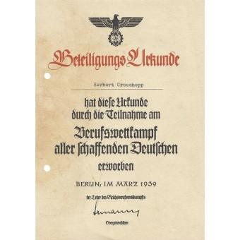 3 Reich HJ certificate. Espenlaub militaria