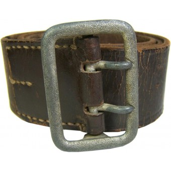 Brown leather belt in size 85 cm for officers. Espenlaub militaria