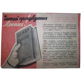 German propaganda leaflet. Read the Lenins books. Espenlaub militaria