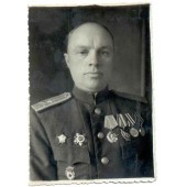 Soviet colonel with high decorations photo -Germany