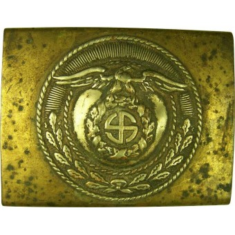 SA sun wheel swastika type two type construction buckle. Espenlaub militaria
