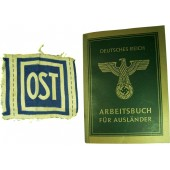 German Eastern workers set of ID book and OST breast patch
