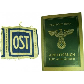 German Eastern workers set of ID book and OST breast patch. Espenlaub militaria