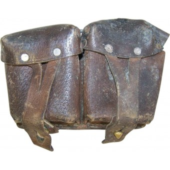 RKKA combat hard worn brown leather Mosin-Nagan rifle ammo pouch.. Espenlaub militaria