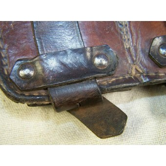 RKKA combat worn dark brown leather Mosin-Nagan rifle ammo pouch. Espenlaub militaria