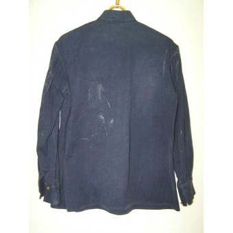 Russian gymnasterka jacket, blue cotton gymnasterka M43 for soviet police.. Espenlaub militaria