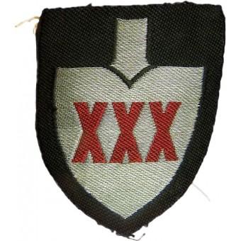 Reichsarbeitsdienst set of XXX-30 Arbeits Gauleitung flatwire embroidered officers sleeve shields. Espenlaub militaria