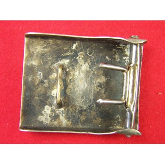 NSKK white nickel buckle with vertical swastika. Espenlaub militaria