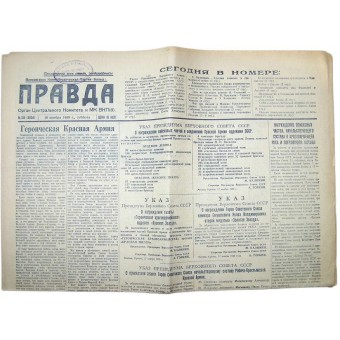 10 days before Finnish winter war Pravda Soviet newspaper from 18 November 1939 year. Espenlaub militaria