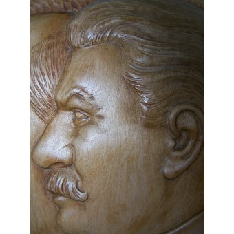 Wooden made wall plaque with Stalin and Lenin, unique item, Super!. Espenlaub militaria