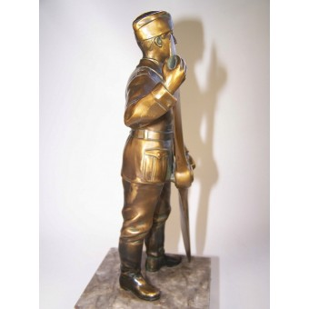 3rd Reich era bronze sculpture of a German soldier holding propeller. Espenlaub militaria