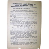 WW2 Soviet leaflet for German troops- Lindemann jagd Euch in den sicheren Tod