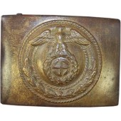 3rd Reich SA der NSDAP brass buckle with horizontal Sonnenrad swastika