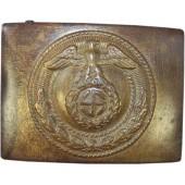 3rd Reich SA der NSDAP brass buckle with horizontal Sonnenrad swastika