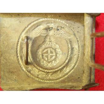 3rd Reich SA der NSDAP brass buckle with horizontal Sonnenrad swastika. Espenlaub militaria