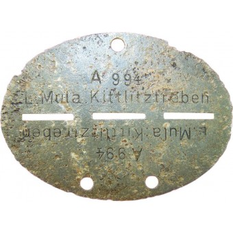 Munitionslager Kittlitztreben ID tag. Espenlaub militaria