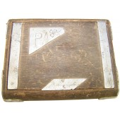 Soviet trench art - wooden cigarette case.