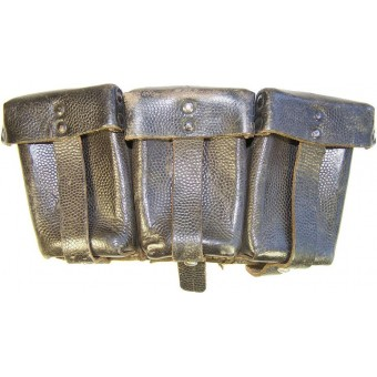 WW2 Wehrmacht or Waffen SS black leather ammo pouch. Espenlaub militaria