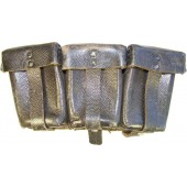 WW2 Wehrmacht or Waffen SS black leather ammo pouch