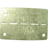 Frontstalag 306 ID tag. Dof tag. Zinc