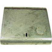WW2 Russian hand made aluminum cigarette case, 1943-48 dated! Trench art!!!