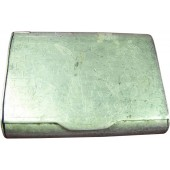 WW2 Russian hand made aluminum cigarette case, 1945 dated! Trench art!!!
