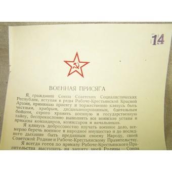Red Army military oath. Espenlaub militaria
