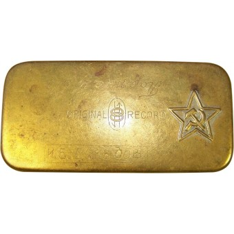WW2 period made metal box with RKKA red star. Espenlaub militaria