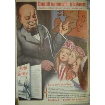 WW2 German propaganda poster in Estonian language. Espenlaub militaria