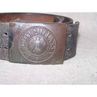 Wehrmacht leather belt with steel buckle. Espenlaub militaria