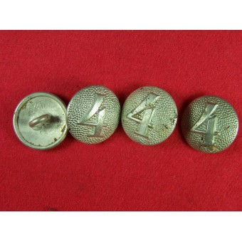 Aluminum buttons for shoulderstraps with numbers  2, 3 or 4. Espenlaub militaria