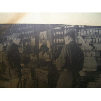 German WW2 Propaganda Leaflet from Ostfront. Russian volunteers in the German shop. Espenlaub militaria