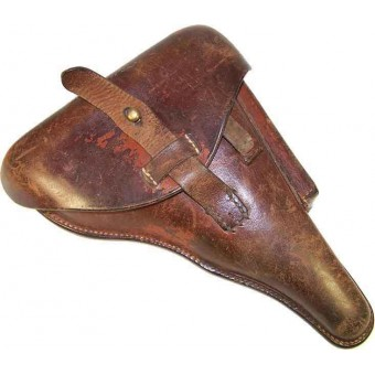 Police P08 brown leather holster, dated 1929. Espenlaub militaria