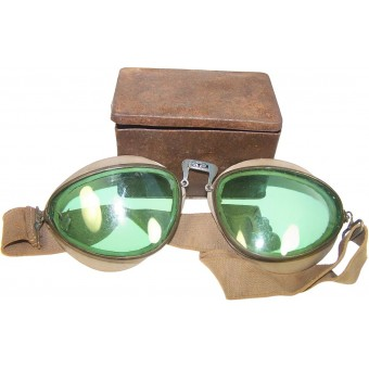 German Wehrmacht or Waffen SS, dispatch riders goggle and the box. Espenlaub militaria