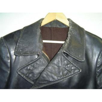 WW2 soviet russian leather coat for NCOs of armored crew. Espenlaub militaria