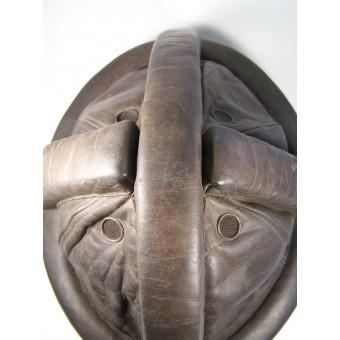 Leather Kradmelder schutzhelm (helmet) of NSKK reissued for the Luftwaffe Flak. Espenlaub militaria