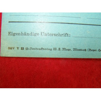 SS Membership card. Mint unfilled.. Espenlaub militaria