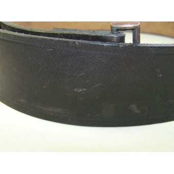 SS/Police officers leather belt and aluminum buckle. Ges Gesch OLC. Espenlaub militaria