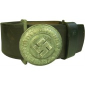 SS/Police officers leather belt and aluminum buckle. Ges Gesch OLC