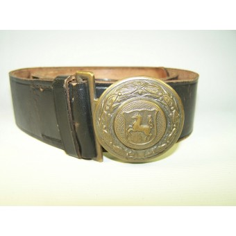 Town police early brass buckle with leather belt. Espenlaub militaria
