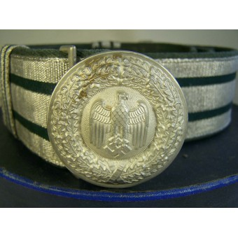 Heeres officers brocade belt with aluminum buckle and storage box.. Espenlaub militaria