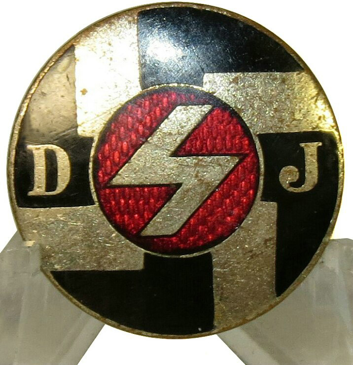 3rd Reich DJ- Deutsche Jungfolk member badge within HJ- NSDAP, non-Combat